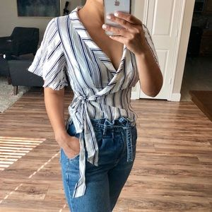 Forever 21 Striped Wrap Top